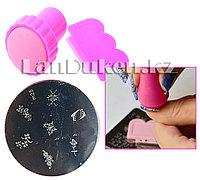 Набор для стемпинга ногтей m25 (пластина для дизайна ногтей, штамп, скребок)