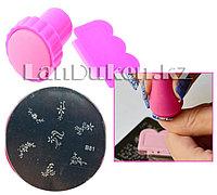 Набор для стемпинга ногтей B81 (пластина для дизайна ногтей, штамп, скребок)