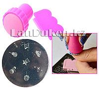 Набор для стемпинга ногтей m14 (пластина для дизайна ногтей, штамп, скребок)