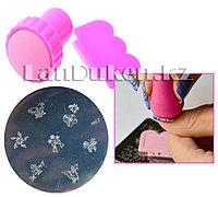 Набор для стемпинга ногтей m67 (пластина для дизайна ногтей, штамп, скребок)