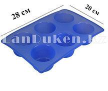Силиконовая форма для выпечки 6 ячеек (голубая)