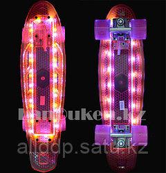 Пенни борд 56*15 Penny Board с подсветкой 5 режимов и со светящимися колесами аккумуляторный розовый