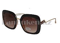 Солнцезащитные очки  Fendi, черная оправа с коричневой линзой