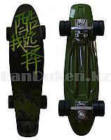 Пенни борд подростковый 56*15 с резиновыми черными колесами, зеленый с рисунком байкера