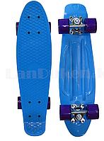 Пенни борд подростковый 56*15 Penny Board с гелевыми фиолетовыми колесами, голубой