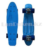 Пенни борд подростковый 56*15 Penny Board с гелевыми синими колесами, голубой