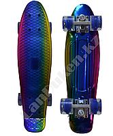 Пенни борд подростковый 56*15 Penny Board с гелевыми синими колесами, разноцветный металлик II