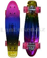 Пенни борд подростковый 56*15 Penny Board с гелевыми розовыми колесами, разноцветный металлик =
