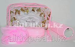 Банный- дорожный набор 5 предметов (футляр для зубной щетки, вехотка, мыльница, расческа, косметичка) Розовый