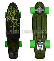 Пенни борд подростковый 56*15 с резиновыми салатовыми колесами, зеленый с рисунком байкера