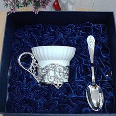 Набор чашка+ложка из фарфора и серебра.