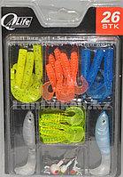 Набор виброхвостов 21 штука + 4 крючка (рыболовные приманки)
