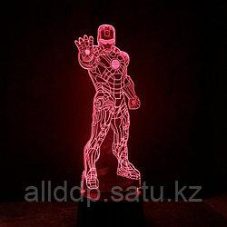 Светодиодный 3D ночник Железный человек LED  3 цветных режима 20 см