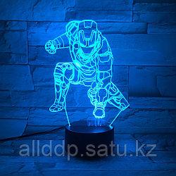 Светодиодный 3D ночник Железный человек LED  3 цветных режима (21х14 см)