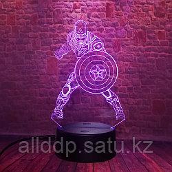 Светодиодный 3D ночник Капитан Америка LED  3 цветных режима 19 см