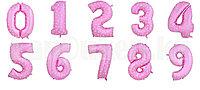 Воздушные шары цифры розовые с сердечками 76 сантиметр, от 0 до 9