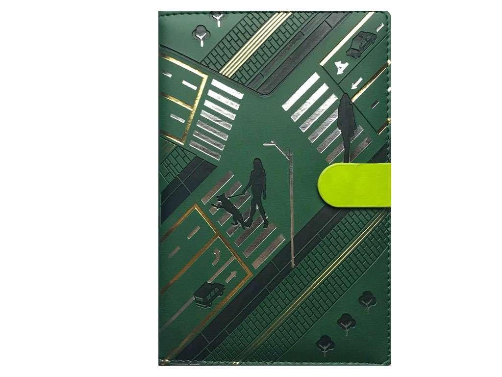 Ежедневник Yalong недатированный А5, на кнопке в клетку, зеленый