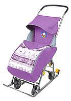 Санки-коляска Ника комбинированная Тимка 1 универсальная лавандовый, фото 1