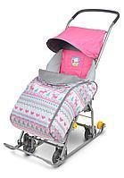 Санки-коляска Ника комбинированная Тимка 1 универсальная розовый, фото 1