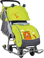 Санки-коляска Ника детям 7 светоотражающие элементы с тигром лимонный, фото 1