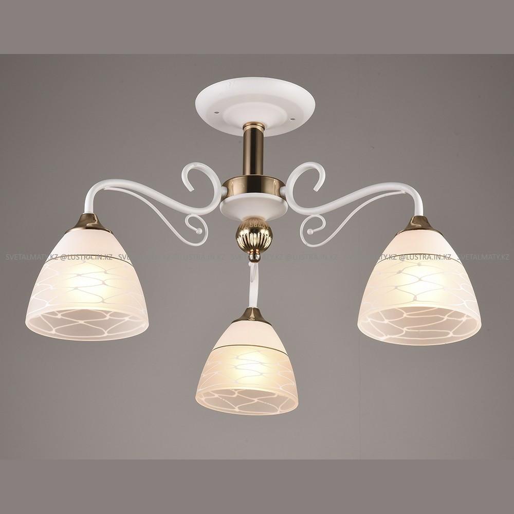 Люстра потолочная на 3 лампы Белая с бронзовыми элементами