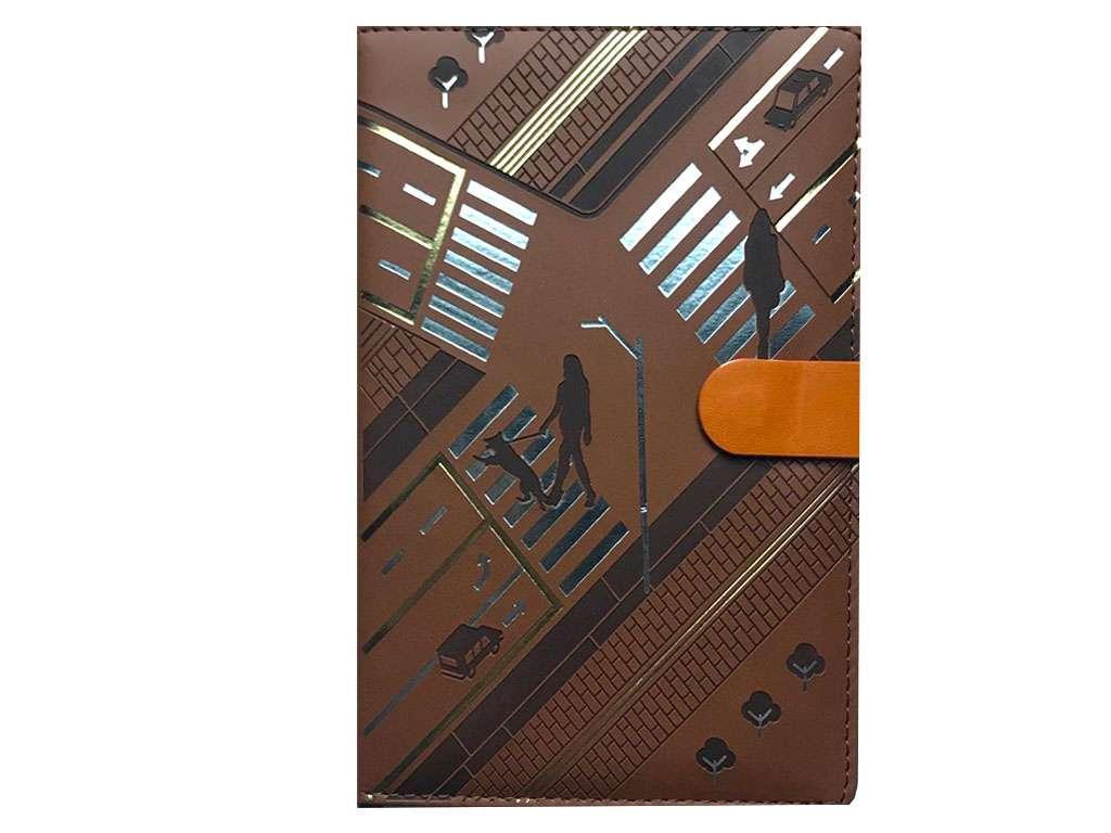 Ежедневник Yalong недатированный А5, на кнопке в клетку, коричневый