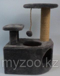 Несси, Домик-когтеточка угловой с 2-мя полками, 35*45*65см.