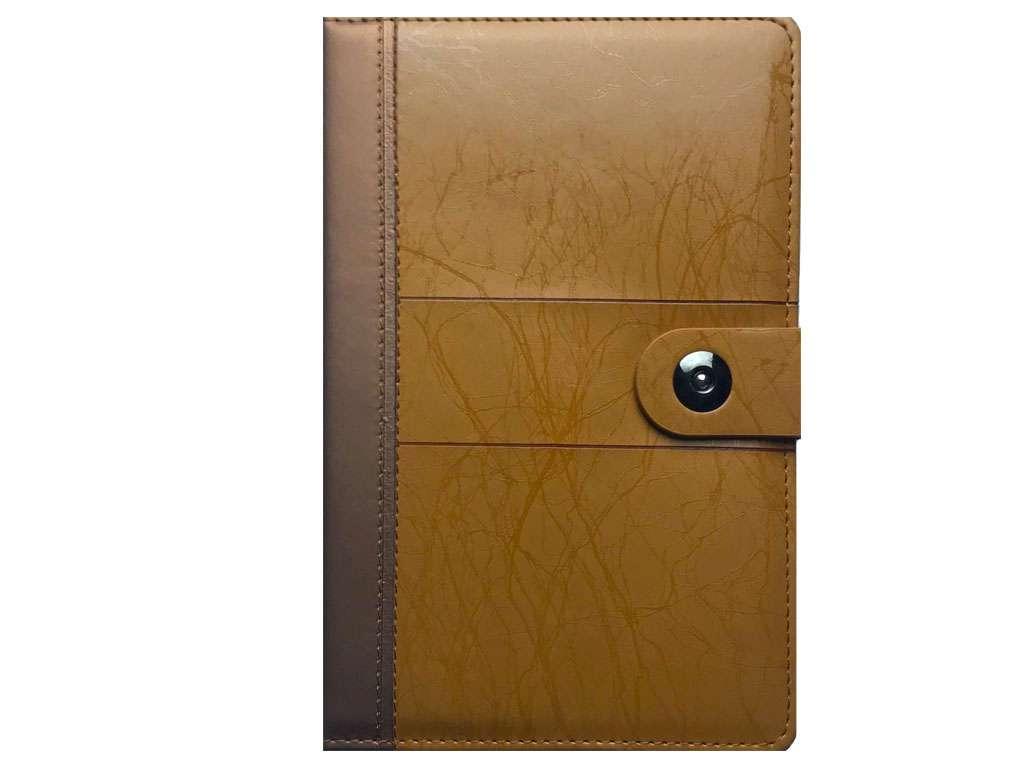 Книжка записная А5 на кнопке, клетка, коричневый