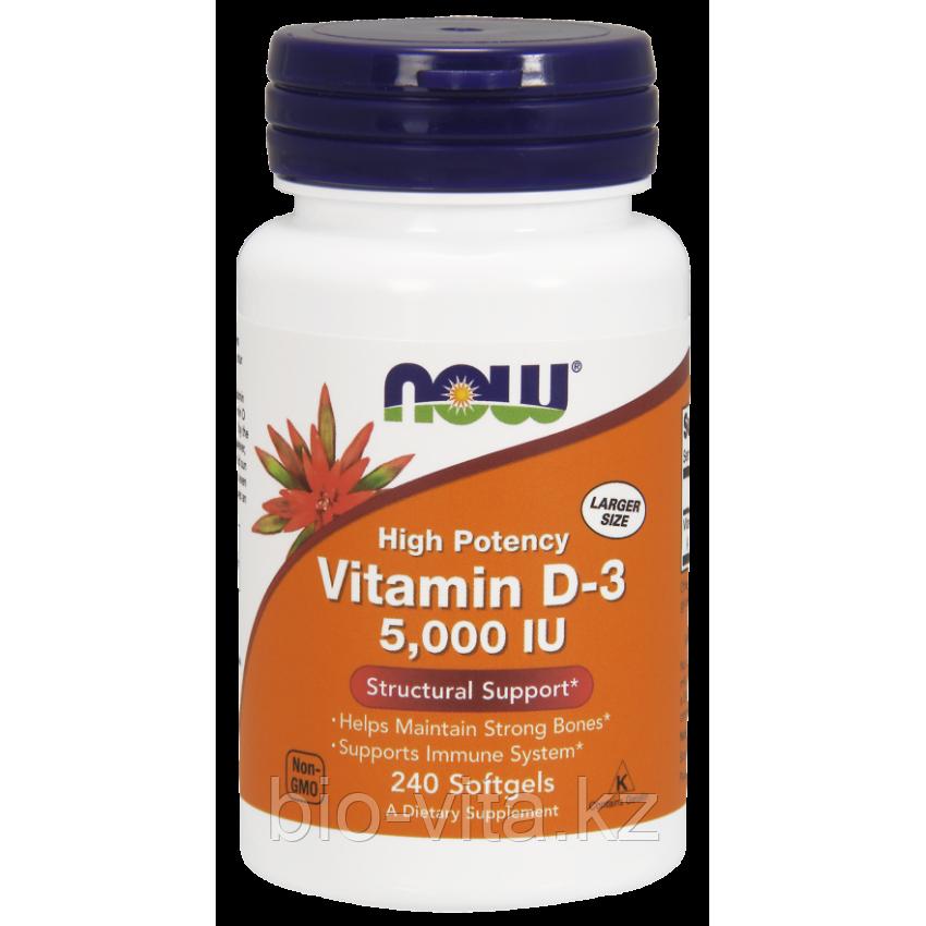 Витамин D3 Д3 , 5000 МЕ, 240 капсул. Now foods