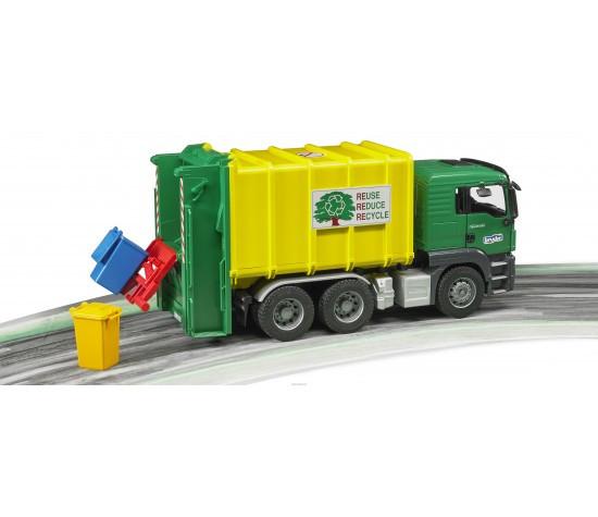 Мусоровоз Bruder MAN TGS, цвет зеленый/желтый, подходит модуль со звуком и светом