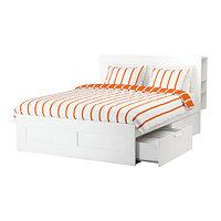 Кровать каркас с изголовьем БРИМНЭС 140х200 Лурой белый ИКЕА, IKEA, фото 1
