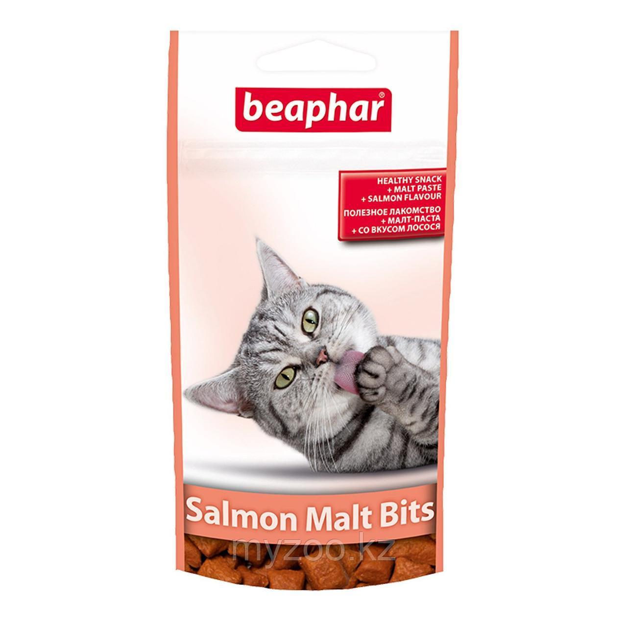 Beaphar Malt Bits Salmon, Беафар Подушечки для вывода шерсти у кошек со вкусом ЛОСОСЯ , 35гр.
