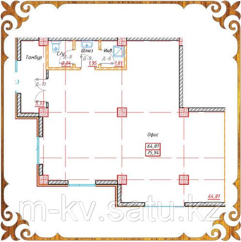 Коммерческое помещение 75.94 кв.м в жк Оазис