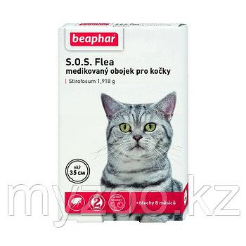 Beaphar Flea&Tick Collar S.O.S. белый 35 см |Ошейник от блох и клещей для кошек|