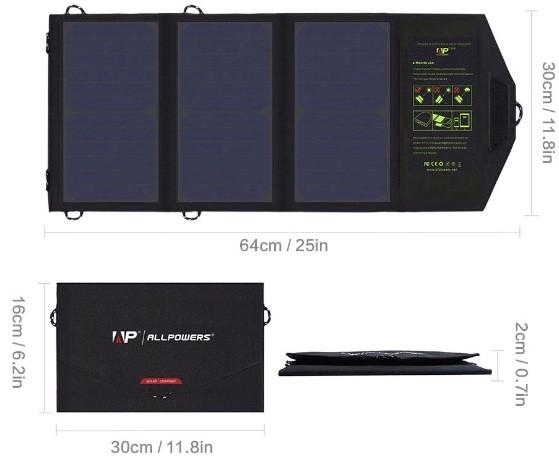 Солнечное зарядное устройство ALLPOWER 21 Вт (влагозащищенная складная солнечная панель с двойным usb-портом)