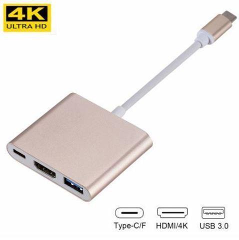 Переходник-хаб Type-C HDMI 4K/USB 3.1 KEBIDU для подключения переферии и к телевизору (Золотой) - фото 1