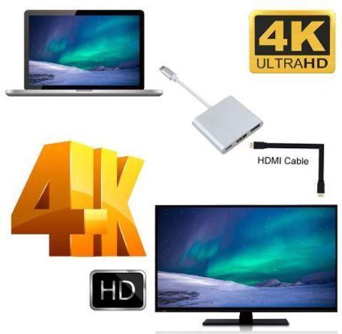 Переходник-хаб Type-C HDMI 4K/USB 3.1 KEBIDU для подключения переферии и к телевизору (Золотой) - фото 2
