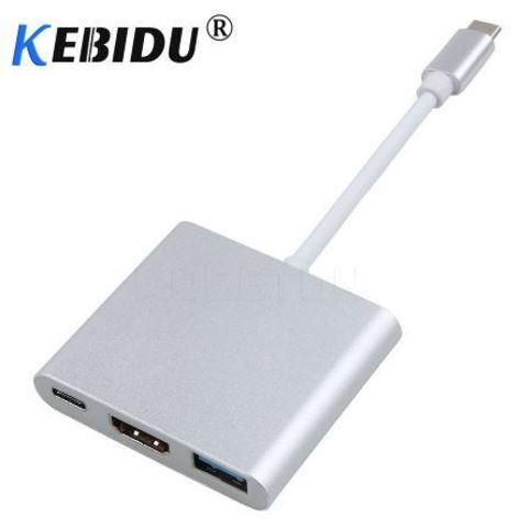 Переходник-хаб Type-C HDMI 4K/USB 3.1 KEBIDU для подключения переферии и к телевизору (Золотой) - фото 4