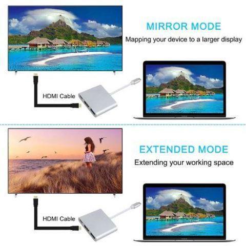 Переходник-хаб Type-C HDMI 4K/USB 3.1 KEBIDU для подключения переферии и к телевизору (Золотой) - фото 6