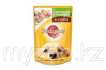 Влажный корм Педигри для взрослых собак кролик, индейка 100 гр