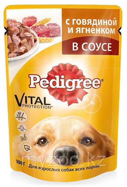 Влажный корм Педигри для взрослых собак говядина, ягненок 100 гр