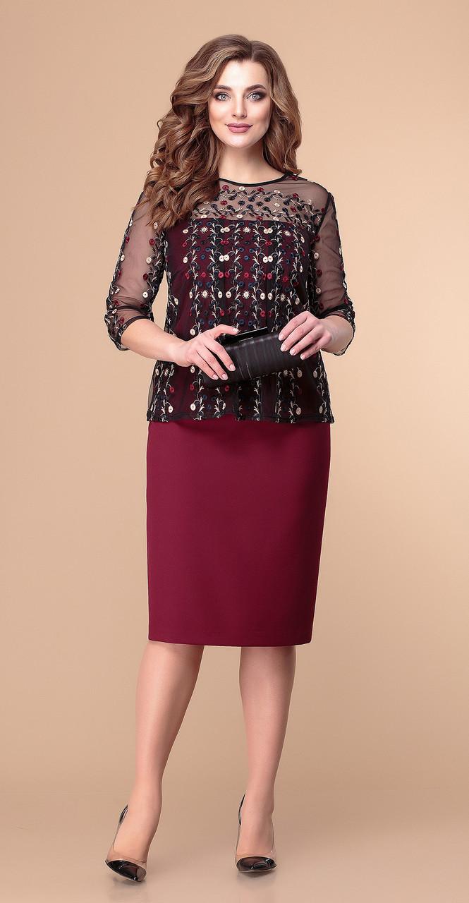 Платье Romanovich-1-1935, бордо-чёрный, 54