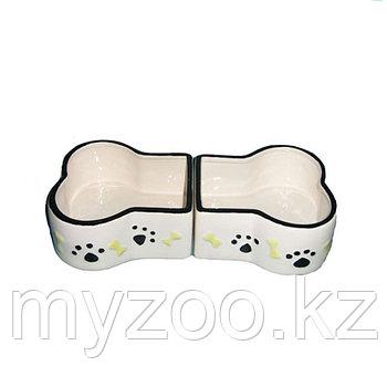 Миска керамическая в виде косточки двойная