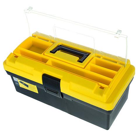 Ящик для инструмента  195х185х415 мм, пластик, цвет черно-жёлтый,съемная полка, фото 2