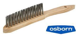 Щётка ручная 3 ряда с деревянной ручкой для угловых сварных швов 295/145 OSBORN Стальная проволока 0,30 T25