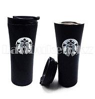 Термокружка Starbucks (Старбакс) с поилкой 500 мл черный с белым логотипом