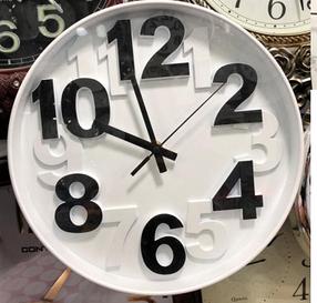 Часы настенные пластиковые, круглые, корпус белый