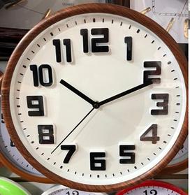 Часы настенные пластиковые, круглые, корпус под  дерево