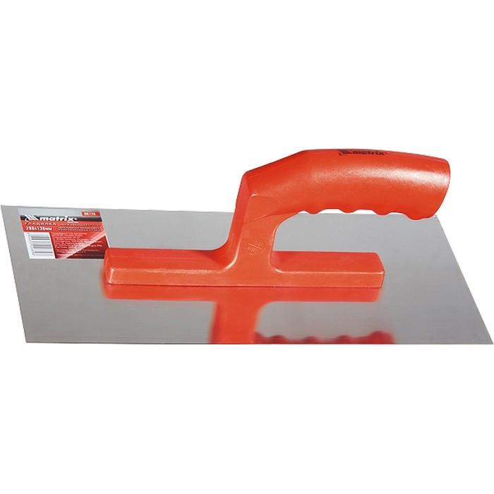 Гладилка из нержавеющей стали, 280 х 130 мм, зеркальная полировка, пластмассовая ручка