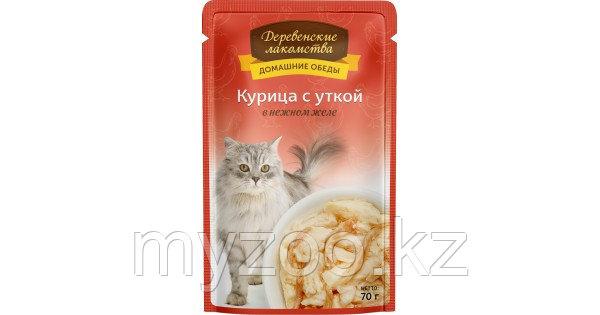 Деревенские лакомства влажный корм для кошек с курицей и уткой 70 гр